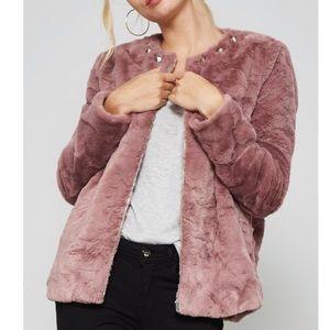 Mauve faux fur Rockstud jacket